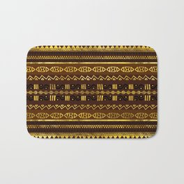Ethnic African Golden Pattern on brown Bath Mat
