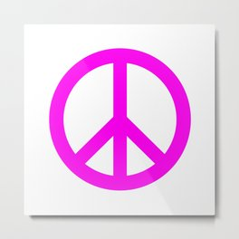 Peace (Magenta & White) Metal Print