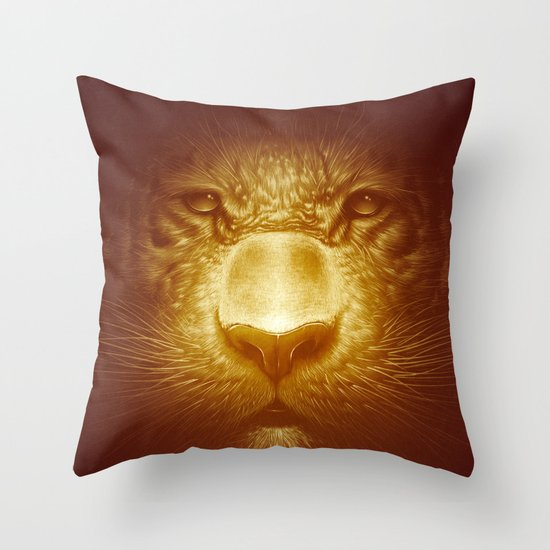 Gold Tiger Throw Pillow