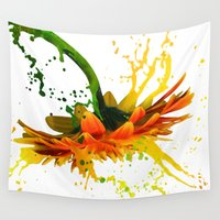 mandela Wall Tapestries featuring Liquid Daisy by MCADesign