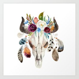 Dreamcatcher skull feathers & flowers Art Print