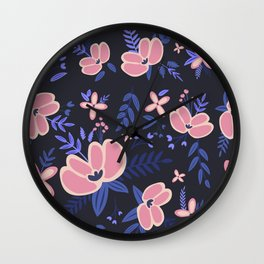 Pink Flowers Pattern 1 Wall Clock