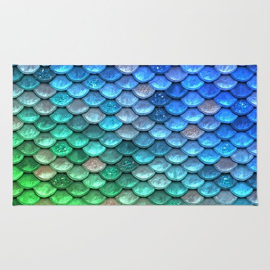 Aqua Teal & Green Shiny Mermaid Glitter Scales Rug By