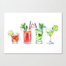 Four Cocktails - Watercolour Drinks - Party Print Canvas Print