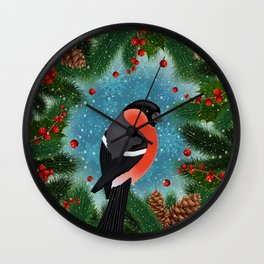 Bullfinch bird with fir tree decoration Wall Clock
