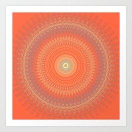 Bright Coral Mandala Design Art Print