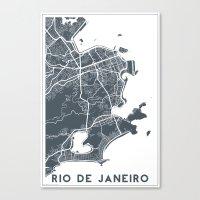rio de janeiro Canvas Prints featuring Rio de Janeiro map by Studio Tesouro