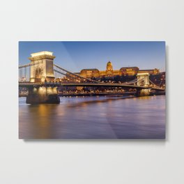 Budapest castle and bridge at blue hour. Metal Print