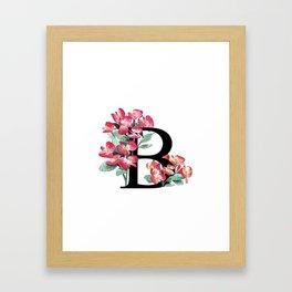 Letter 'B' Begonia Flower Monogram Typography Framed Art Print