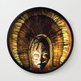 Tribal Mask with head dress golden Wall Clock