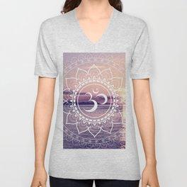 Om Water Mandala Lavender Mauve Unisex V-Neck