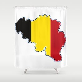 Belgium Map with Belgian Flag Shower Curtain