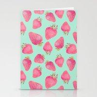 strawberry Stationery Cards featuring Strawberry  by Marta Olga Klara
