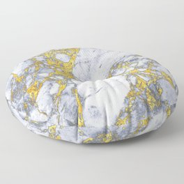 white - blue marble design with gold overlays Floor Pillow