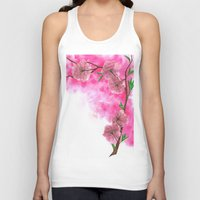 cherry blossom Tank Tops featuring Cherry Blossom by Laura Thompson Art