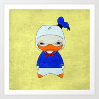donald duck Art Prints featuring A Boy - Donald Duck by Christophe Chiozzi