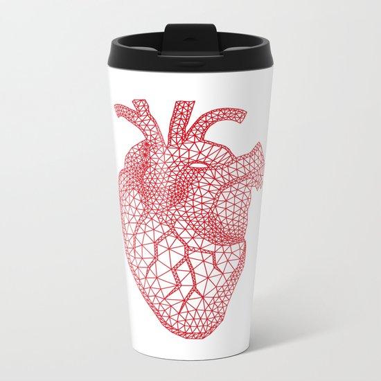 abstract red heart Metal Travel Mug