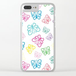 Large Scale, I Love Butterflies White Background Large Clear iPhone Case