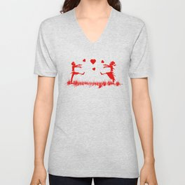 Zombies in Love Red Unisex V-Neck