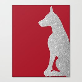 Doberman Dog in silver glitter Canvas Print