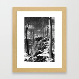 A vertical version of the rocks and trees Framed Art Print
