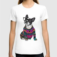frenchie T-shirts featuring hipster frenchie by Huebucket