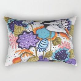 Chickadee Garden Floral Rectangular Pillow