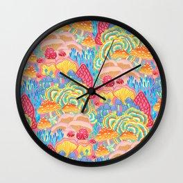 Fungi World (Mushroom world) -PINK Wall Clock