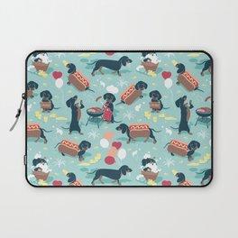 Hot dogs and lemonade // aqua background navy dachshunds Laptop Sleeve