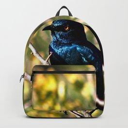 African Blue Bird Perched Tree Branches Backpack