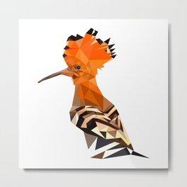 Bird artwork hoopoe geometric, Orange and brown Metal Print