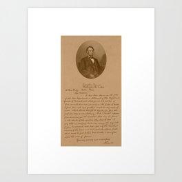 President Lincoln Letter To Mrs. Bixby  Art Print