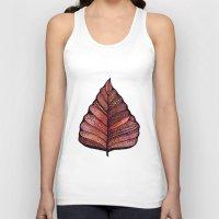 decal Tank Tops featuring Modern leaf art | green leaves wall decal | botanical leaf decor | botanical leaves | leaf & plant by WestridgeART