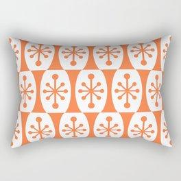 Mid Century Modern Atomic Fusion Pattern Orange Rectangular Pillow