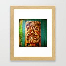 Crazy, fun, fierce, Hawaiian retro wood carving tiki face close-up photo Framed Art Print