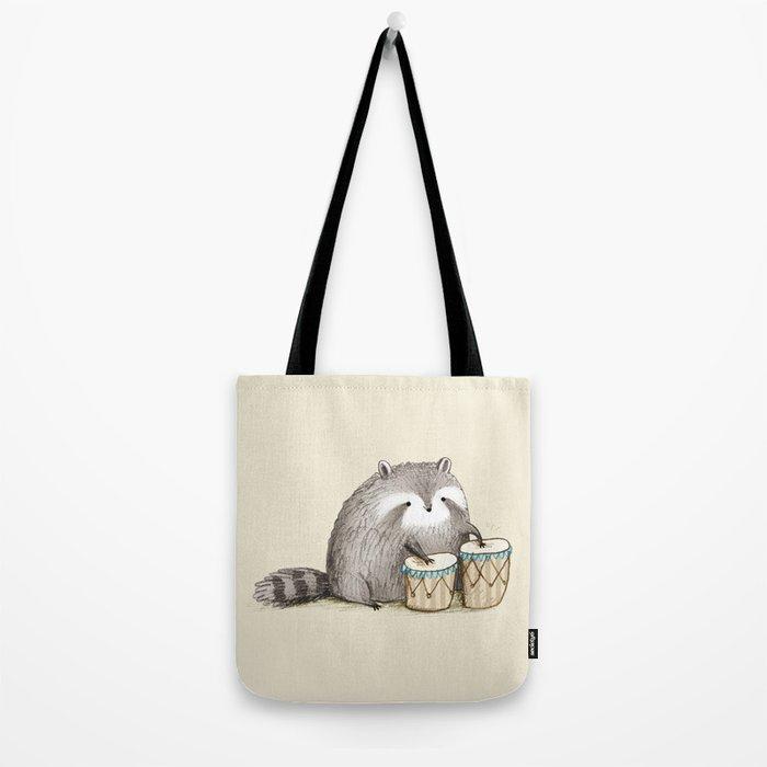 Raccoon on Bongos Tote Bag