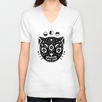 black cat V-neck T-shirts featuring BLACK CAT by LordofMasks