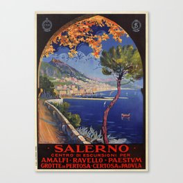 Salerno Italy vintage summer travel ad Canvas Print