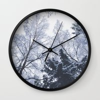cities Wall Clocks featuring Scared cities by HappyMelvin