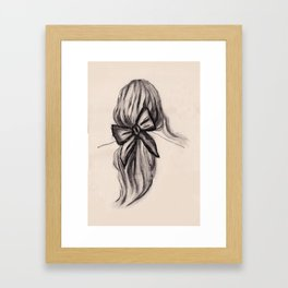 Black bow hairstyle Framed Art Print
