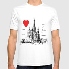 I love Moscow  White Mens Fitted Tee MEDIUM
