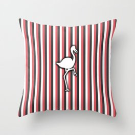 Flamingo over Colorful Pink Stripes Pattern Throw Pillow