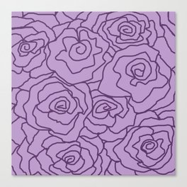 Lavender Dreams Roses - Light with Dark Outline - Color Therapy Canvas Print