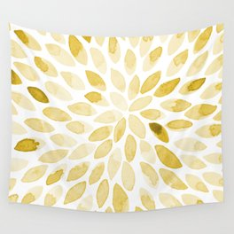 Watercolor brush strokes - yellow Wall Tapestry
