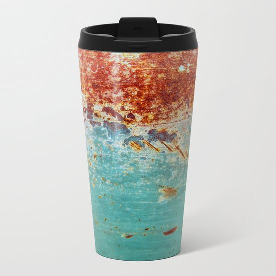 Teal Rust Metal Travel Mug