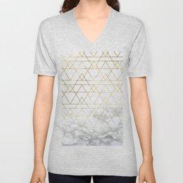 Gold Geometric Marble Deco Design Unisex V-Neck