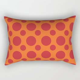 RED DOTS ON A ORANGE BACKGROUND Abstract Art Rectangular Pillow
