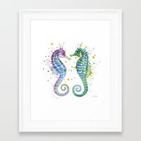 seahorse Framed Art Prints featuring Seahorse by Sam Nagel