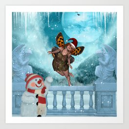 Christmas, cute little fairy with snowman Art Print