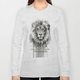 Lion Courage Motivational Quote Watercolor Painting Long Sleeve T-shirt